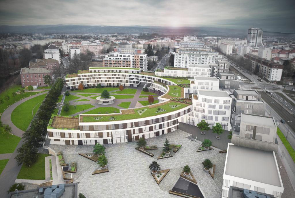 Vizuliza pohladu na novou část BEA campusu Olomouc